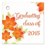 Orange flower graduation party gift favor tag