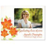 Orange flowers graduation photo announcement