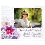 Purple floral graduation photo magnet