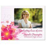 Hot pink floral graduation photo magnet