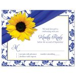 Yellow sunflower, white and royal blue damask floral and ribbon RSVP reply insert card front