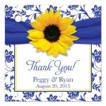 Sunflower royal blue damask personalized wedding favor tag front