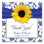 Sunflower royal blue damask personalized wedding favor tag back