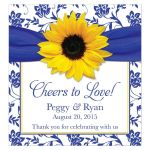 Sunflower royal blue damask personalized wedding wine lables