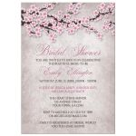 Bridal Shower Invitations - Rustic Pink Cherry Blossom