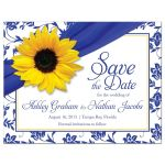 Sunflower royal blue and white floral damask personalized wedding save the date postcard front