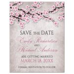 Save the Date Magnets - Rustic Pink Cherry Blossom