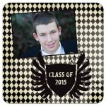 Black harlequin diamonds graduation photo announcement invitation