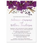 Violet Watercolor Flowers Wedding Invitations front