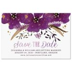 Violet Watercolor Flowers Save The Date Postcards front