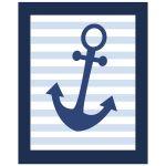 Navy blue anchor nautical art print 8x10