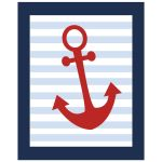 Red anchor nautical art print 8x10