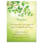 Wedding reception enclosure card with tree branch and green leaves