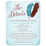 Painted Watercolor Feathers Wedding Enclosure Cards front