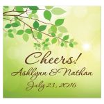 Personalized wedding beverage or bottle label in spring green and yellow with tree branches and green leaves