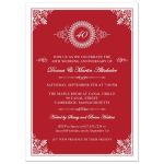 Wedding Anniversary Party Invitation - Red 40th Ornate Medallion