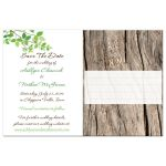 wedding save the date card with green and brown leaves and branches.