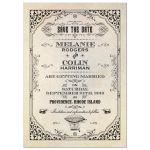 Save the Date Card - Vintage Grunge Damask Steampunk