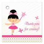 Black hair ballerina fairy thank you favor gift tags