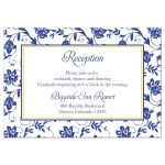Yellow sunflower, royal blue and white damask floral ribbon wedding reception insert card front