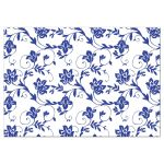 Yellow sunflower, royal blue and white damask floral ribbon wedding reception insert card back