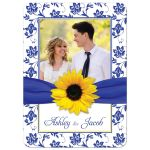 Yellow sunflower, white and royal blue damask floral and ribbon photo wedding invitation front