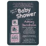 ABC alphabet block chalkboard baby girl baby shower invitation front