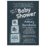ABC alphabet block chalkboard baby boy baby shower invitation front