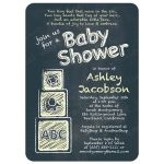 ABC alphabet block chalkboard yellow baby shower invitation front
