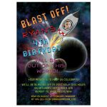 "Kid's space, astronaut, rocket ""blast off"" birthday party invitation"