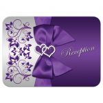 Purple and Silver Floral Wedding Enclosure card with Ribbon, Bow, and Joined Hearts