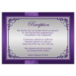 wedding reception card with silver and purple flowers, ribbon, bow, and joined jewel hearts