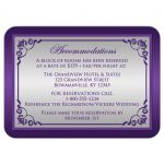 wedding reception card with silver and purple scrolls