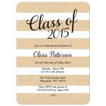 Taupe nude and gold glitter graduation announcement