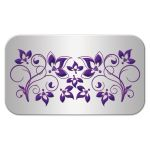 Purple and silver floral escort card with ribbon, bow, and jewelled joined hearts