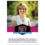 Bachelorette Hens Party Invitation - Pink Blue Modern Glitter Look Photo Band