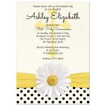 White shasta daisy, polka dots and ribbon Catholic First Holy Communion Invitation front