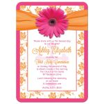 Communion Invitation | Pink Gerber Daisy Orange Damask Front