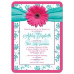 Communion Invitation | Pink Gerber Daisy Turquoise Damask Front