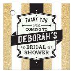 Bridal Shower Favor Tag - Retro Golden Glitter Stripes Wedding