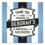 Bridal Shower Favor Tag - Retro Blue Glitter Stripes Wedding