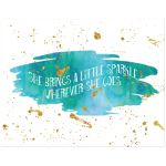 11x14 turquoise, green and gold glitter on watercolor art print with sparkle