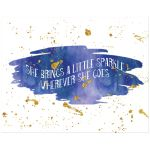 11x14 Blue, purple, and gold glitter on watercolor art print with sparkle