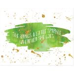 11x14 lime green and gold glitter on watercolor art print with sparkle