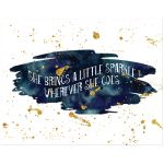 11x14 navy blue and gold glitter on watercolor art print with sparkle