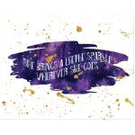 11x14 purple, sapphire blue and gold glitter on watercolor art print with sparkle