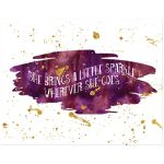 11x14 purple, maroon and gold glitter on watercolor art print with sparkle