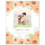 Peach and green watercolor flowers wedding thank you card