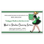 Funky Green Stripes With Zebra Pattern Cleaning Service Business Card