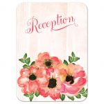 Peach watercolor flowers wedding reception enclosure card card with gold gilding